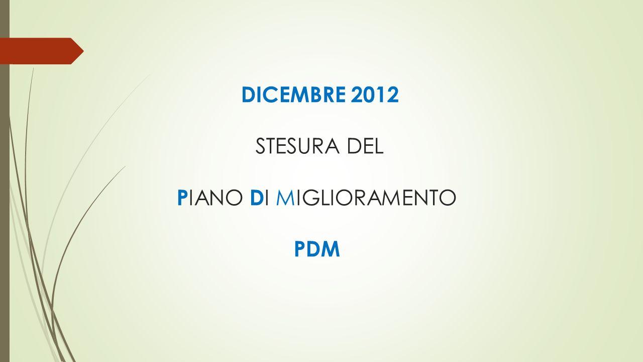 DICEMBRE 2012 STESURA DEL PIANO DI MIGLIORAMENTO PDM