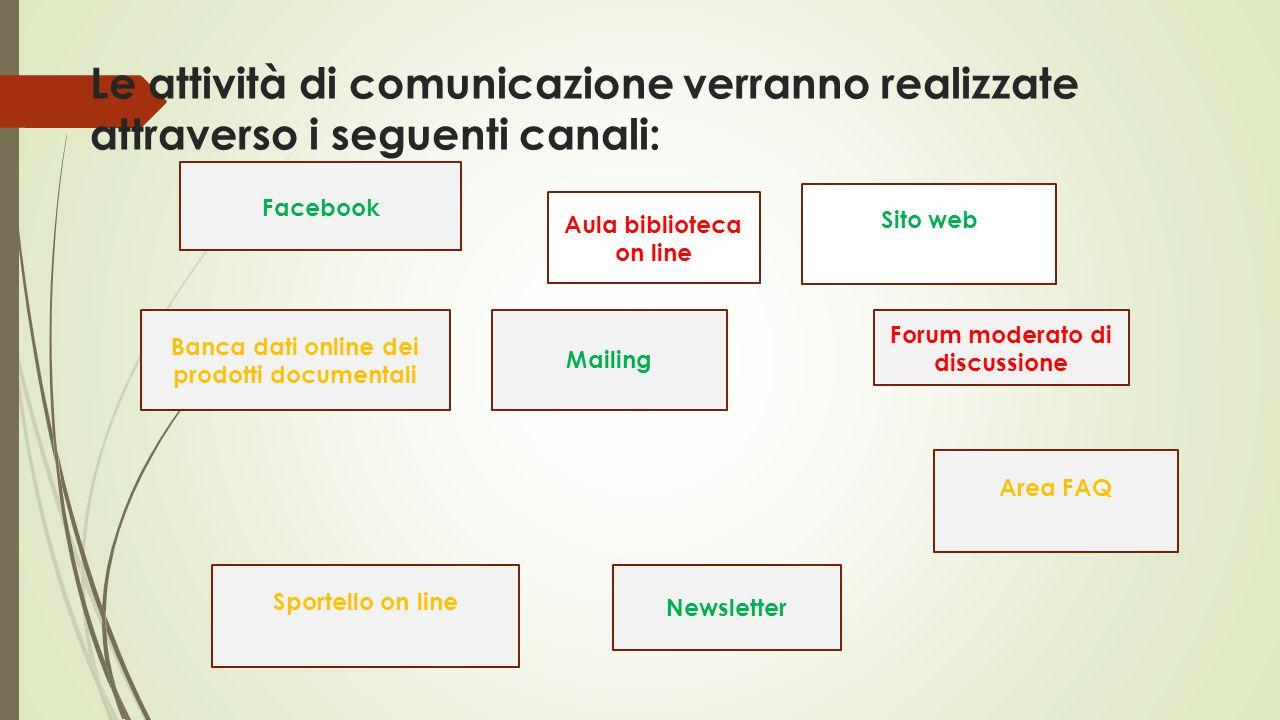 Le attività di comunicazione verranno realizzate attraverso i seguenti canali: