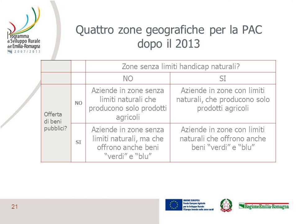 Quattro zone geografiche per la PAC dopo il 2013
