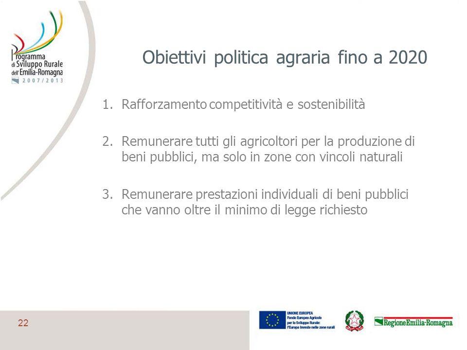 Obiettivi politica agraria fino a 2020