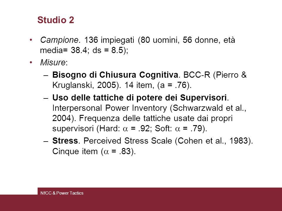 Studio 2 Campione. 136 impiegati (80 uomini, 56 donne, età media= 38.4; ds = 8.5); Misure: