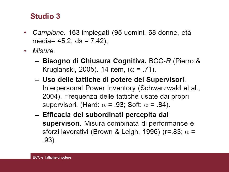Studio 3 Campione. 163 impiegati (95 uomini, 68 donne, età media= 45.2; ds = 7.42); Misure: