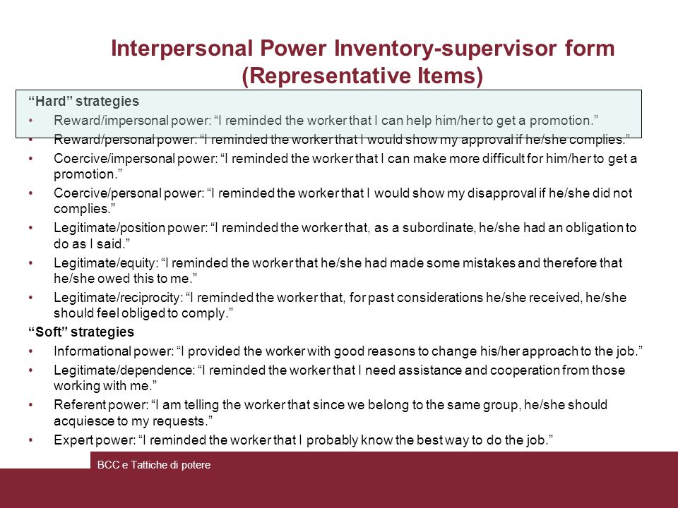 Interpersonal Power Inventory-supervisor form (Representative Items)
