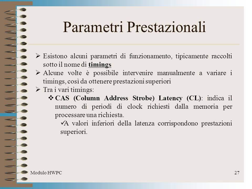 Parametri Prestazionali
