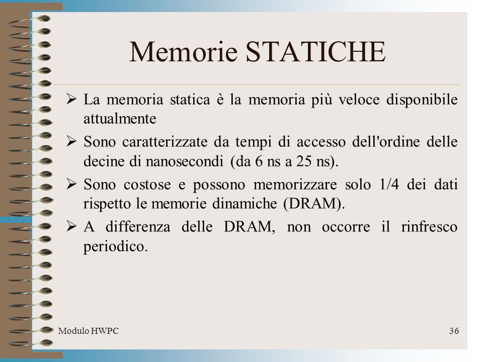 Memorie STATICHE La memoria statica è la memoria più veloce disponibile attualmente.