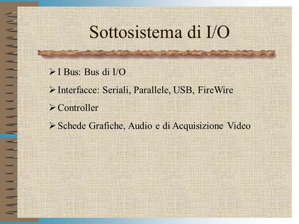 Sottosistema di I/O I Bus: Bus di I/O
