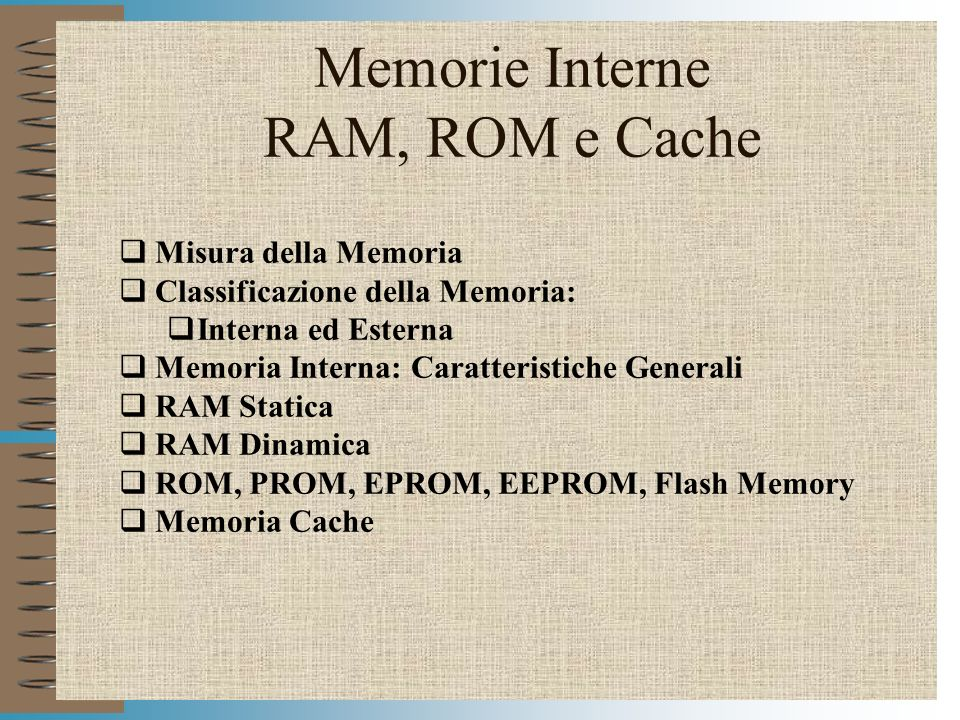 Memorie Interne RAM, ROM e Cache