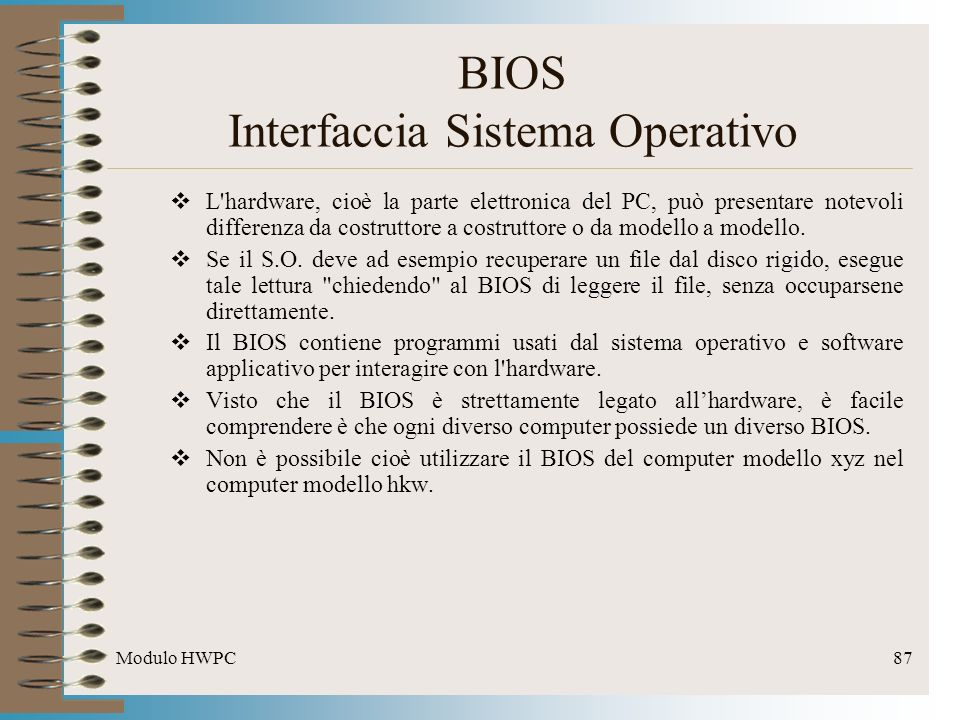 BIOS Interfaccia Sistema Operativo