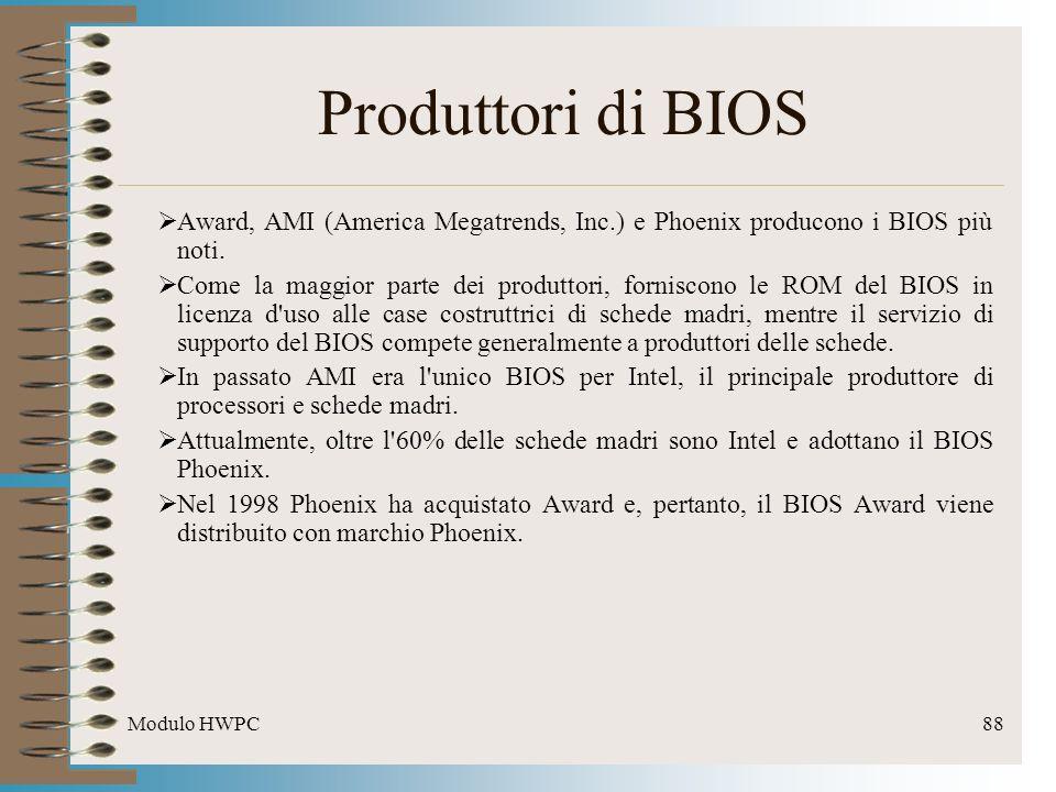 Produttori di BIOS Award, AMI (America Megatrends, Inc.) e Phoenix producono i BIOS più noti.