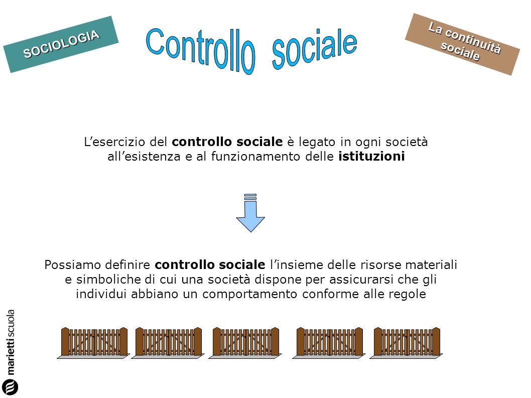 Controllo sociale L'esercizio del controllo sociale è legato in ogni società all'esistenza e al funzionamento delle istituzioni.