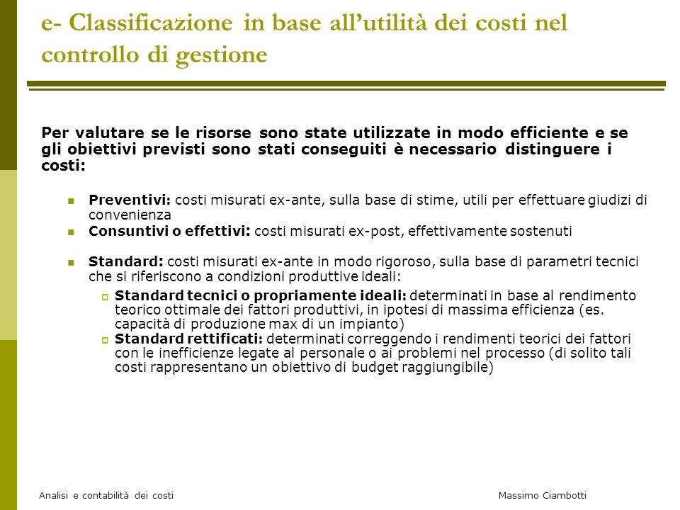 e- Classificazione in base all'utilità dei costi nel controllo di gestione