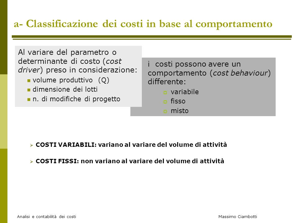 a- Classificazione dei costi in base al comportamento