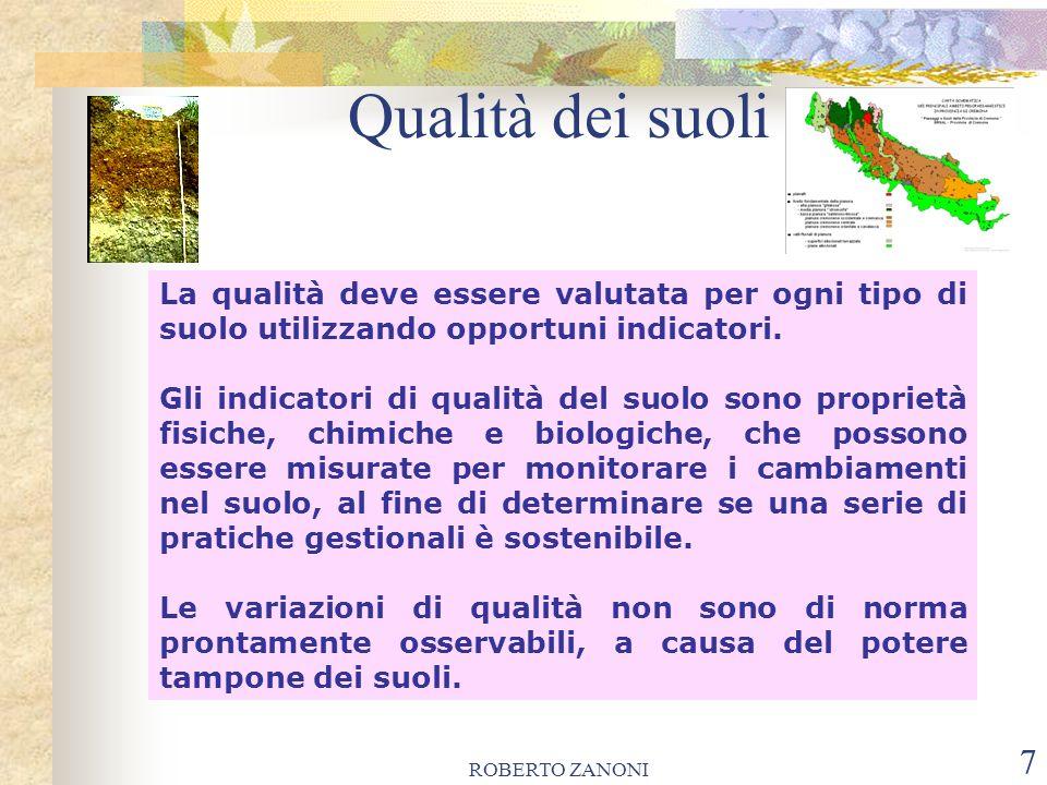 Qualità dei suoli La qualità deve essere valutata per ogni tipo di suolo utilizzando opportuni indicatori.