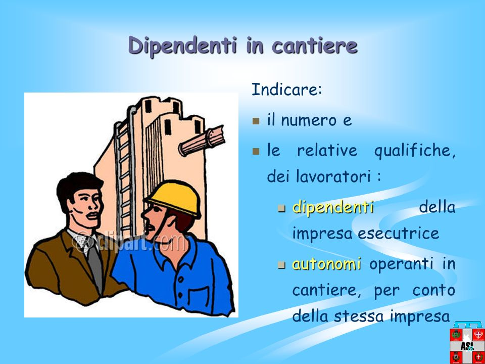 Dipendenti in cantiere