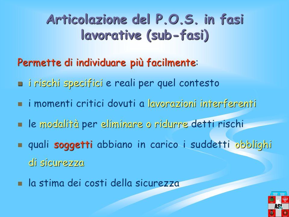 Articolazione del P.O.S. in fasi lavorative (sub-fasi)