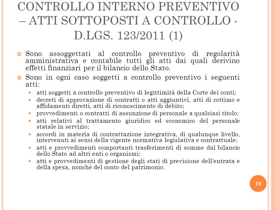 CONTROLLO INTERNO PREVENTIVO – ATTI SOTTOPOSTI A CONTROLLO -D. LGS