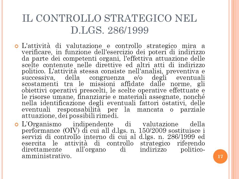 IL CONTROLLO STRATEGICO NEL D.LGS. 286/1999