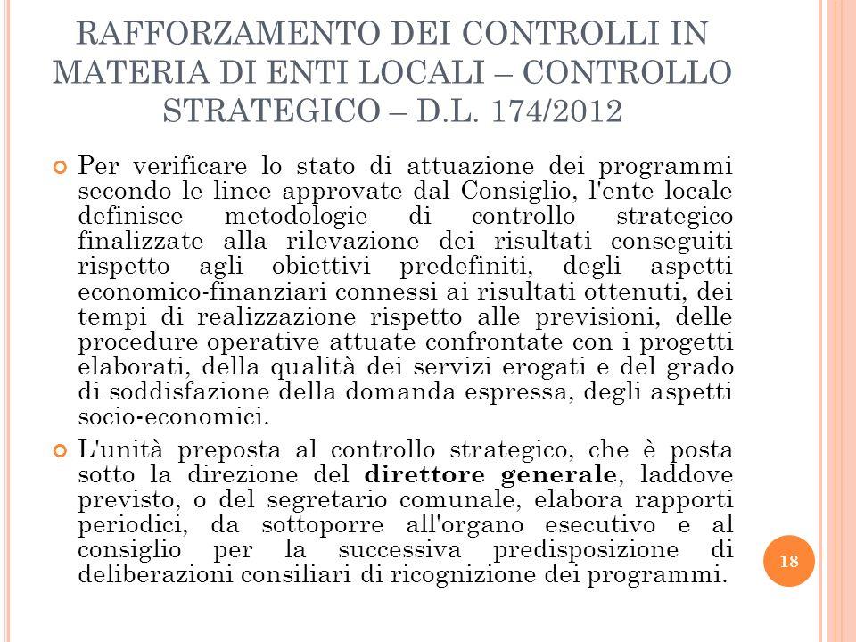 RAFFORZAMENTO DEI CONTROLLI IN MATERIA DI ENTI LOCALI – CONTROLLO STRATEGICO – D.L. 174/2012
