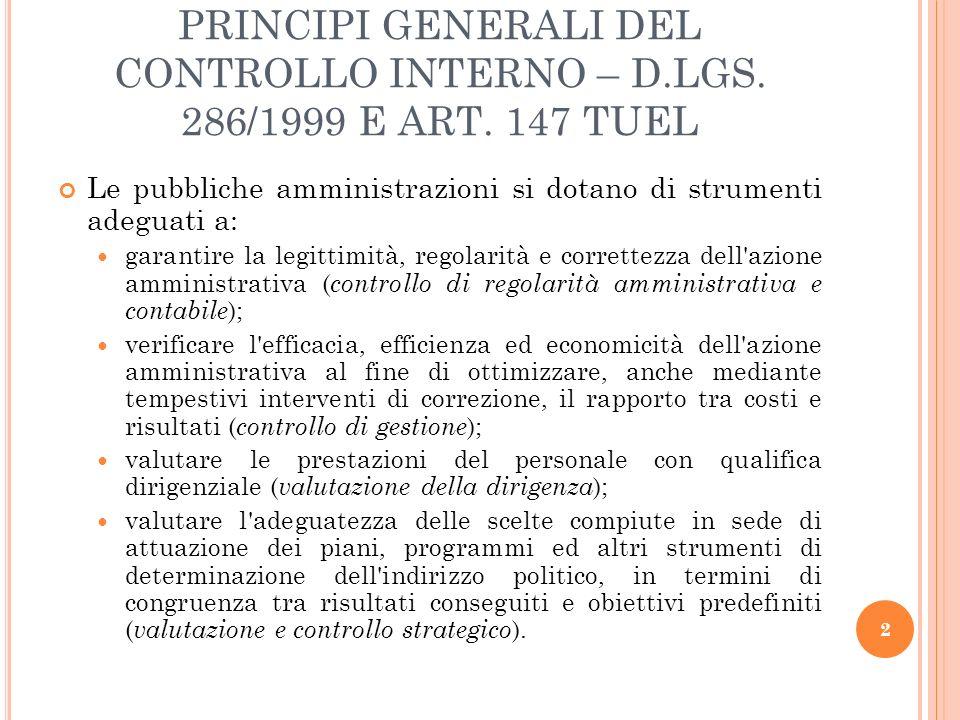PRINCIPI GENERALI DEL CONTROLLO INTERNO – D. LGS. 286/1999 E ART