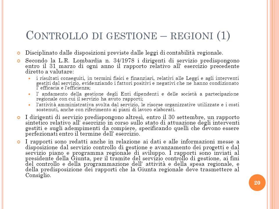 Controllo di gestione – regioni (1)