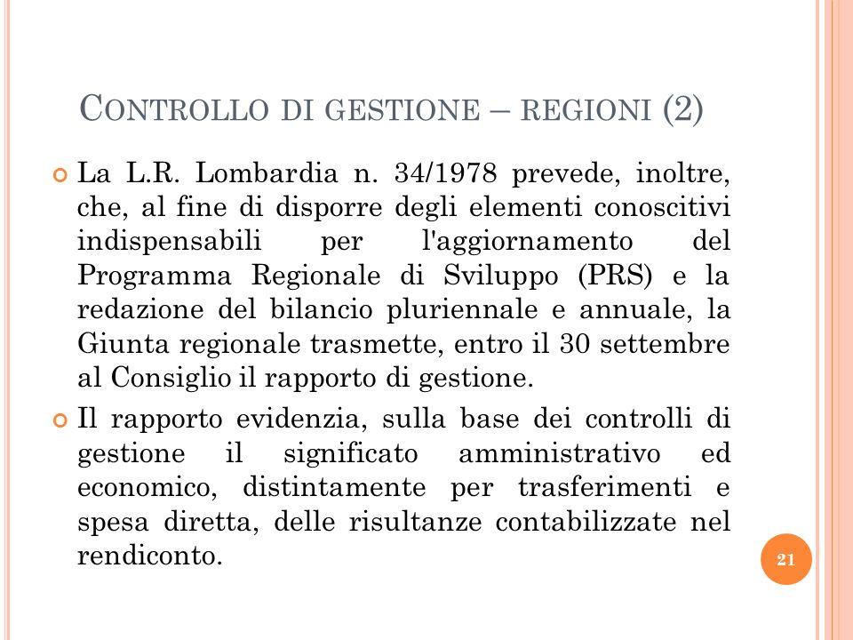 Controllo di gestione – regioni (2)