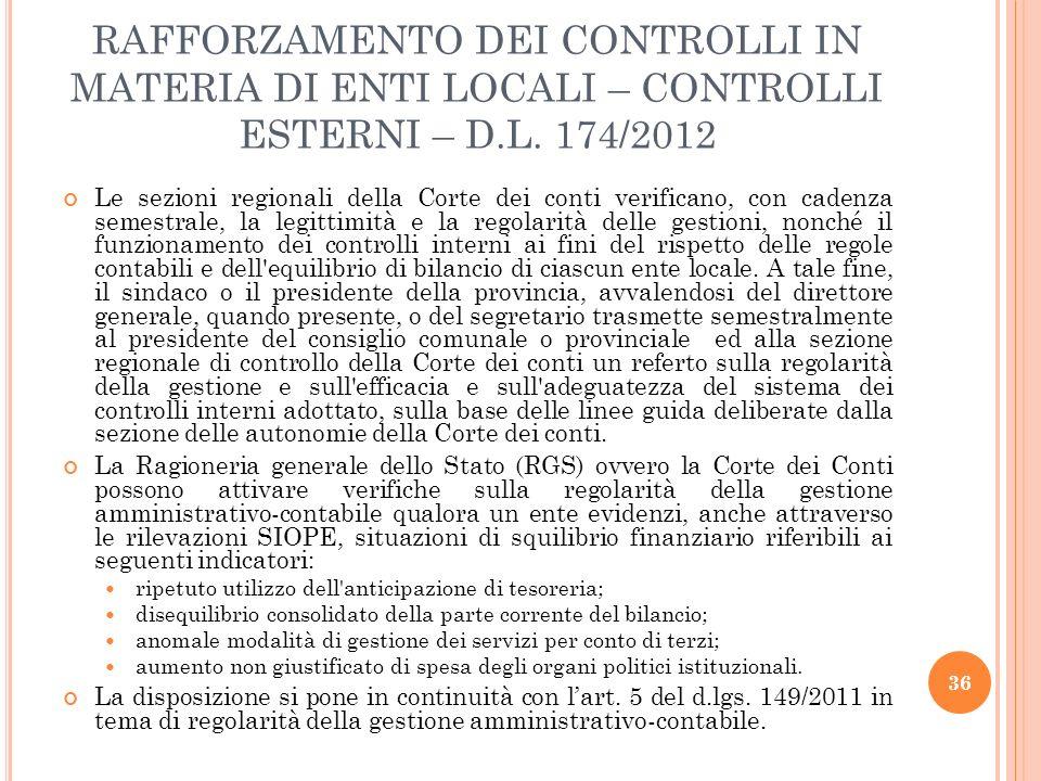 RAFFORZAMENTO DEI CONTROLLI IN MATERIA DI ENTI LOCALI – CONTROLLI ESTERNI – D.L. 174/2012