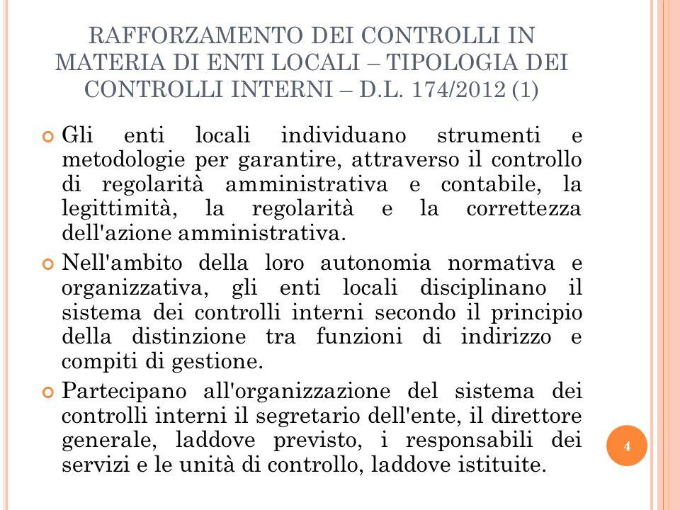 RAFFORZAMENTO DEI CONTROLLI IN MATERIA DI ENTI LOCALI – TIPOLOGIA DEI CONTROLLI INTERNI – D.L. 174/2012 (1)