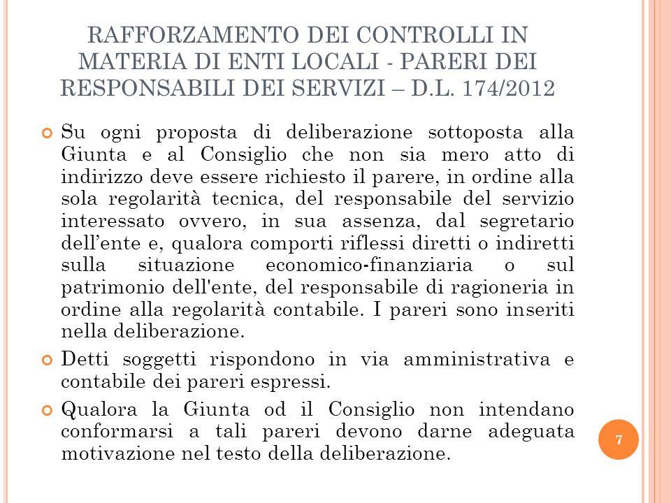 RAFFORZAMENTO DEI CONTROLLI IN MATERIA DI ENTI LOCALI - PARERI DEI RESPONSABILI DEI SERVIZI – D.L. 174/2012