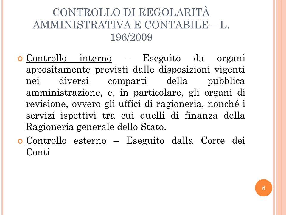CONTROLLO DI REGOLARITÀ AMMINISTRATIVA E CONTABILE – L. 196/2009