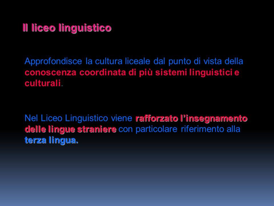 Il liceo linguistico Approfondisce la cultura liceale dal punto di vista della conoscenza coordinata di più sistemi linguistici e culturali.