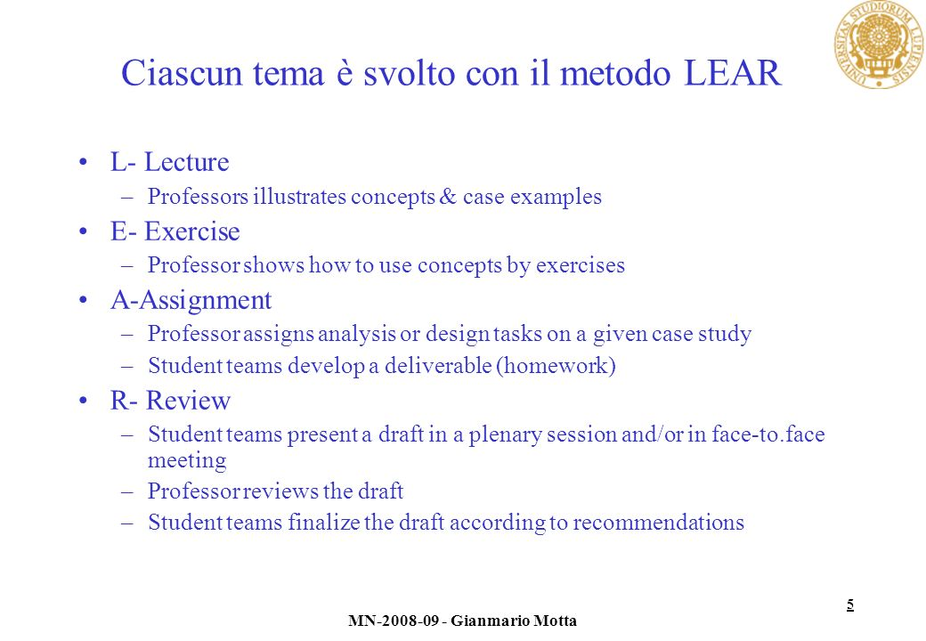Ciascun tema è svolto con il metodo LEAR