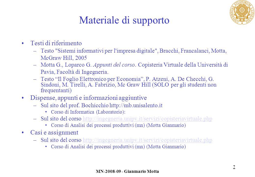 Materiale di supporto Testi di riferimento