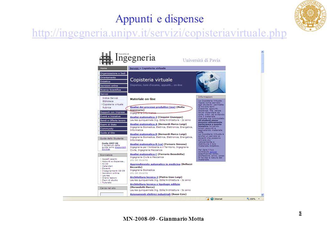 Appunti e dispense http://ingegneria. unipv