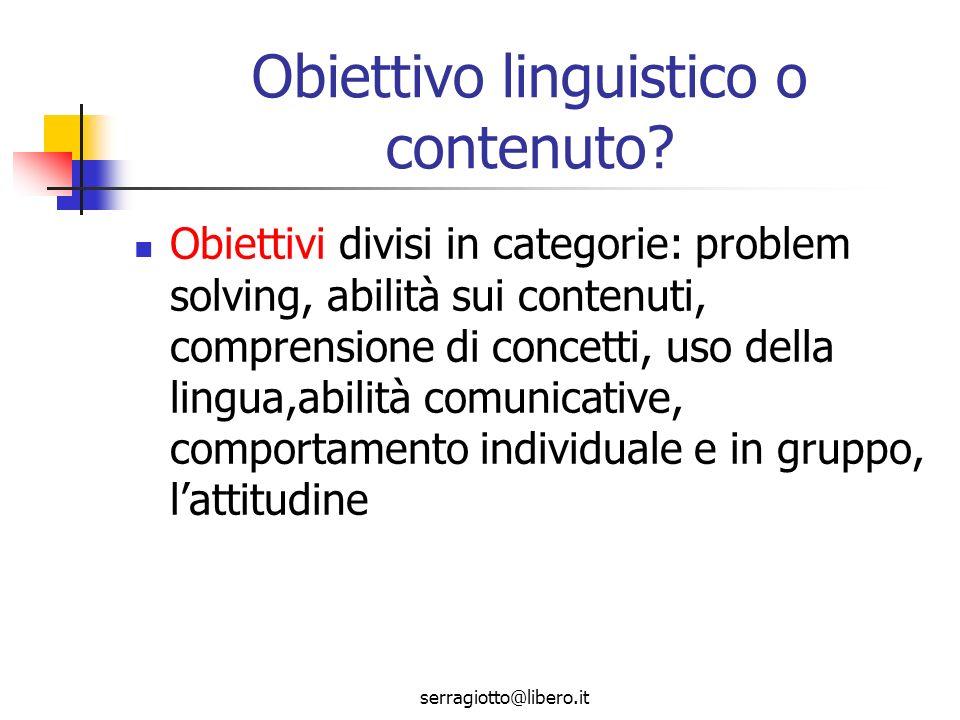 Obiettivo linguistico o contenuto