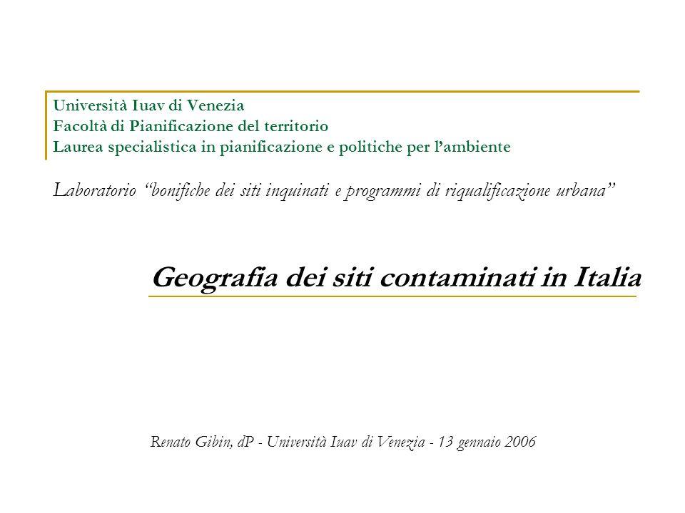 Geografia dei siti contaminati in Italia