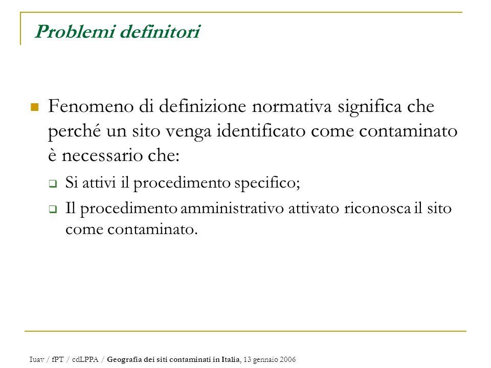Problemi definitori Fenomeno di definizione normativa significa che perché un sito venga identificato come contaminato è necessario che: