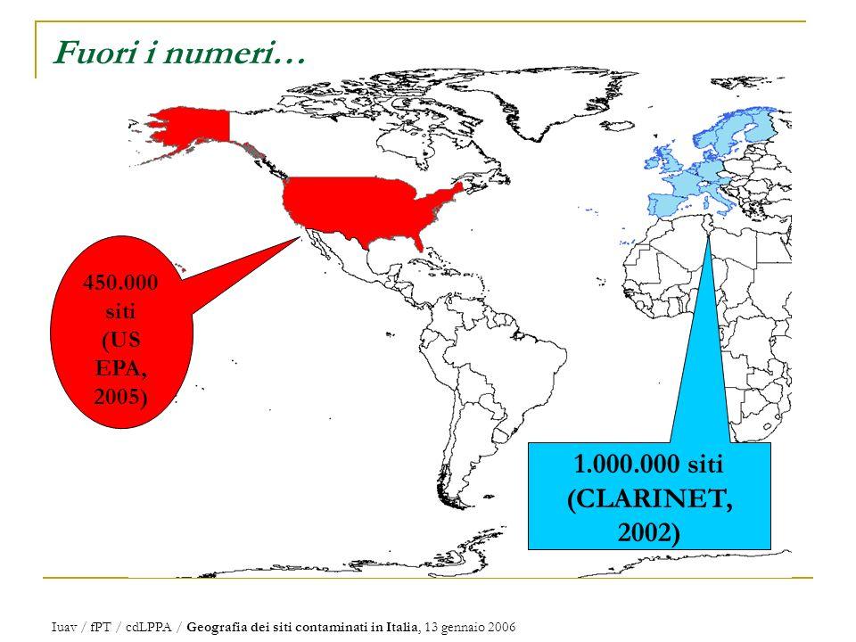 Fuori i numeri… 1.000.000 siti (CLARINET, 2002) 450.000 siti