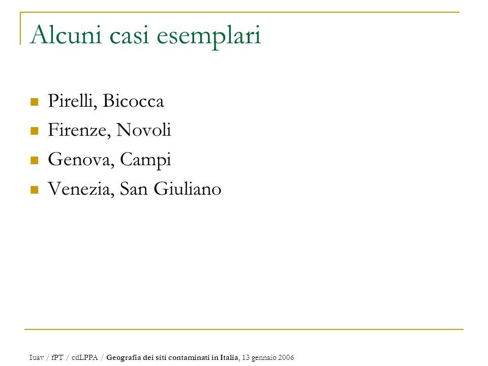 Alcuni casi esemplari Pirelli, Bicocca Firenze, Novoli Genova, Campi