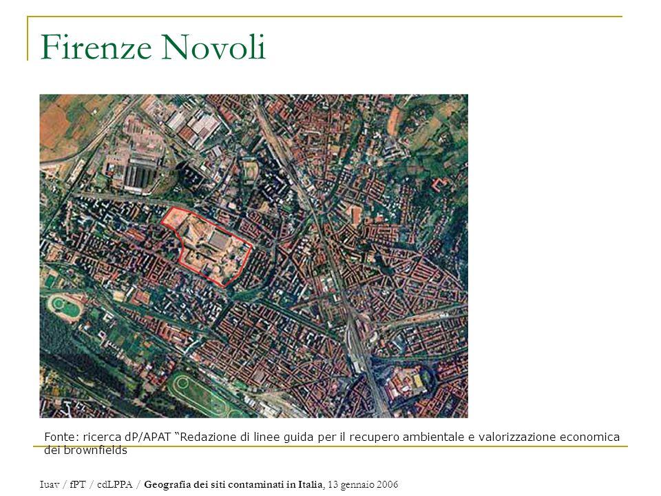 Firenze Novoli Fonte: ricerca dP/APAT Redazione di linee guida per il recupero ambientale e valorizzazione economica dei brownfields.