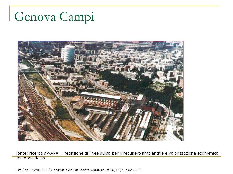 Genova Campi Fonte: ricerca dP/APAT Redazione di linee guida per il recupero ambientale e valorizzazione economica dei brownfields.