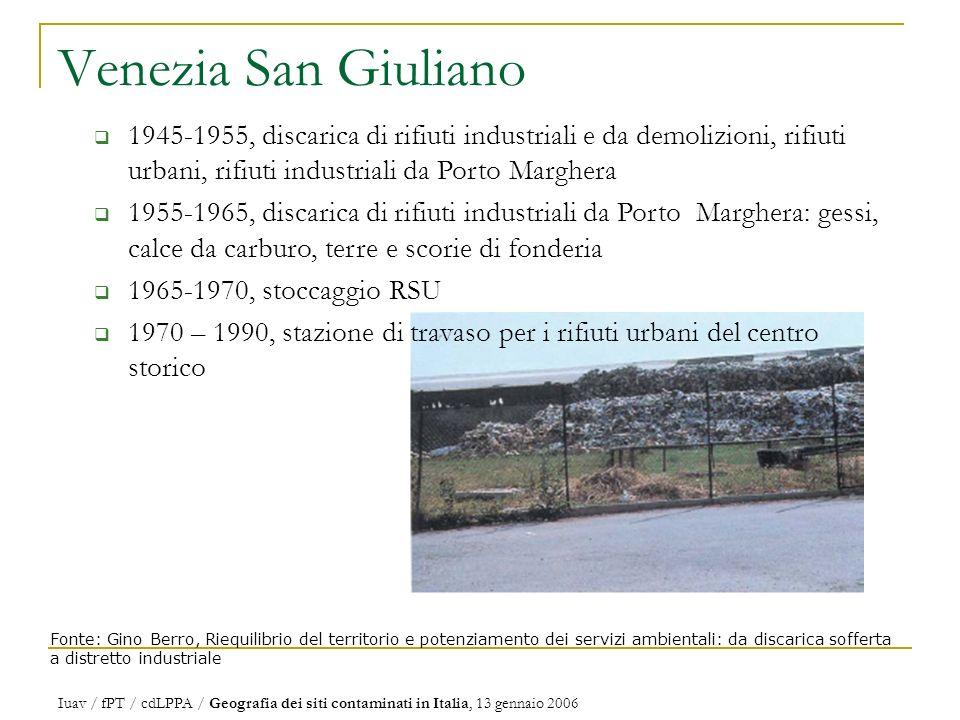 Venezia San Giuliano 1945-1955, discarica di rifiuti industriali e da demolizioni, rifiuti urbani, rifiuti industriali da Porto Marghera.