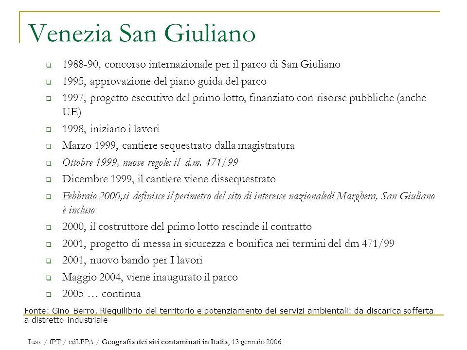 Venezia San Giuliano 1988-90, concorso internazionale per il parco di San Giuliano. 1995, approvazione del piano guida del parco.