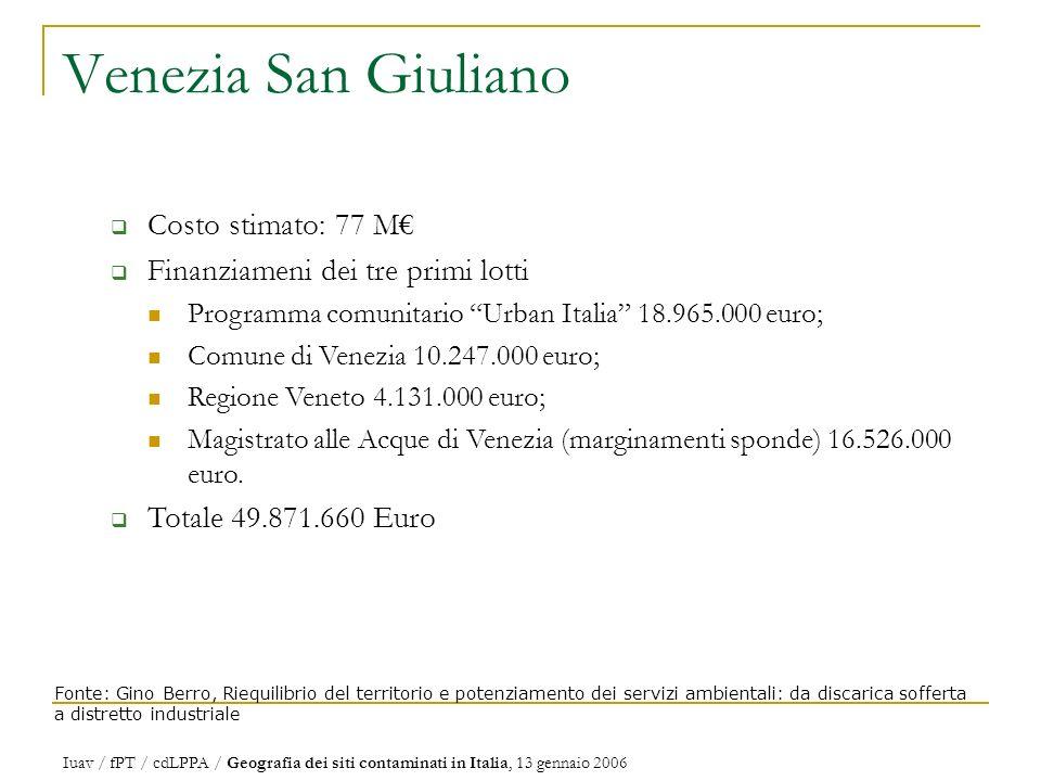 Venezia San Giuliano Costo stimato: 77 M€
