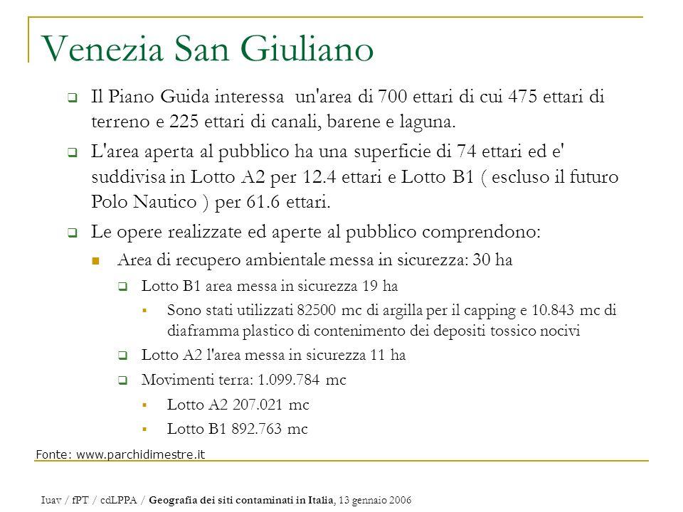 Venezia San Giuliano Il Piano Guida interessa un area di 700 ettari di cui 475 ettari di terreno e 225 ettari di canali, barene e laguna.