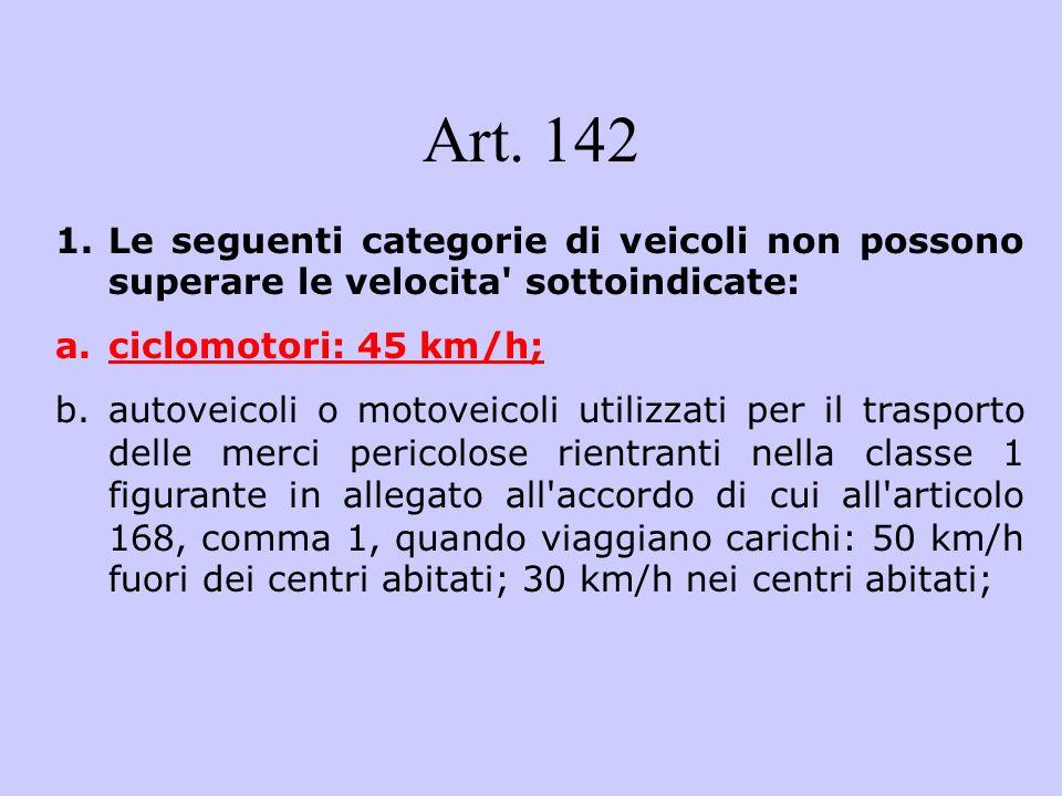 Art. 142 Le seguenti categorie di veicoli non possono superare le velocita sottoindicate: ciclomotori: 45 km/h;