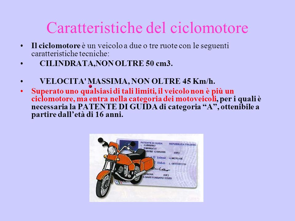 Caratteristiche del ciclomotore