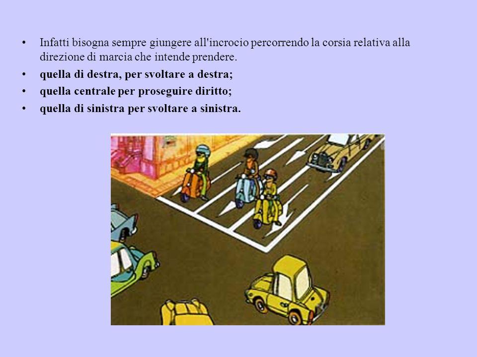 Infatti bisogna sempre giungere all incrocio percorrendo la corsia relativa alla direzione di marcia che intende prendere.