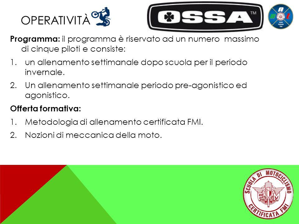 operatività Programma: il programma è riservato ad un numero massimo di cinque piloti e consiste: