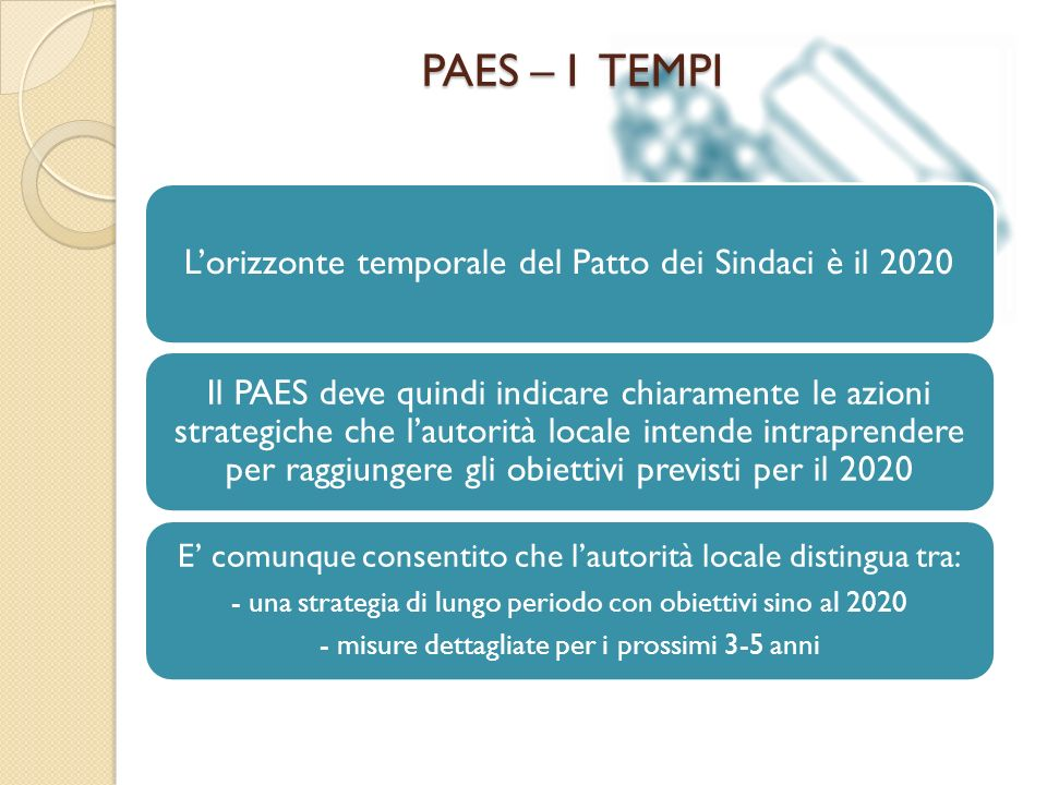 PAES – I TEMPI L'orizzonte temporale del Patto dei Sindaci è il 2020.