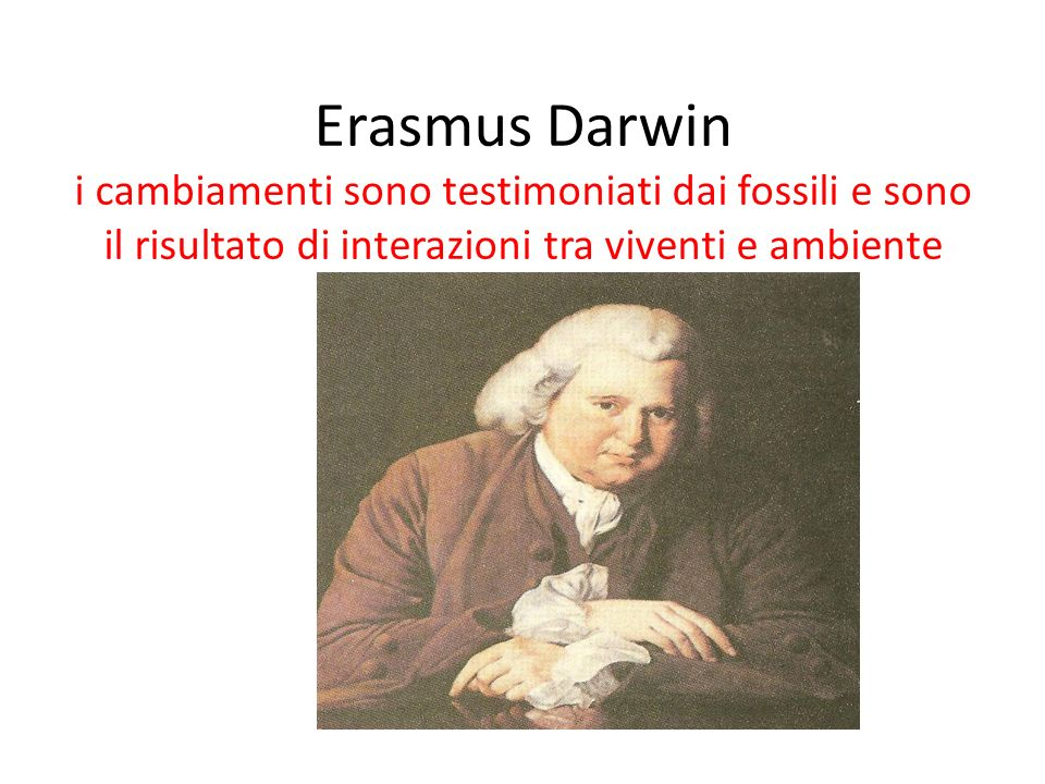 Erasmus Darwin i cambiamenti sono testimoniati dai fossili e sono il risultato di interazioni tra viventi e ambiente